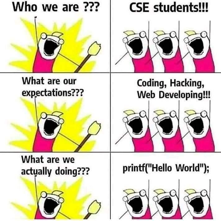 CSE Students expectations are Coding,Hacking and Web Development