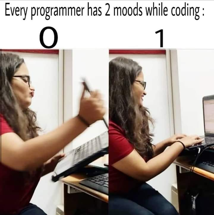 Every programmer has 2 moods while coding